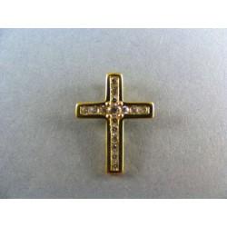 Zlatý prívesok krížik s kamienkami VI160K
