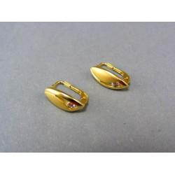 Zlaté náušnice s kamienkom a jemným zárezom DA275