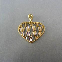 Zlatý prívesok srdce zlato s lupienkami kvetu DI157V 14 karátov 585/1000 1,57 g