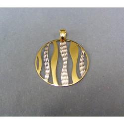 Zlatý prívesok dvojfarebný tvar kruh DI180/1