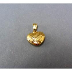 Zlatý prívesok srdiečko vzorované DI070/1