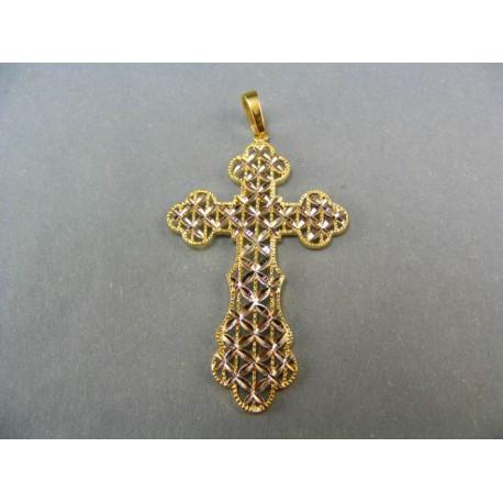 Prívesok krížik kombinácia biele a žlté zlato