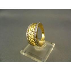 Zlatý dámsky prsteň gravirovany viacfarebné zlato VP58438V