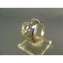 Zlatý prsteň so vzorom biele zlato VP58570B
