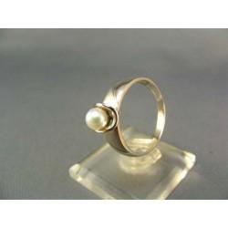 Zlatý prsteň s perlou biele zlato VP58387B