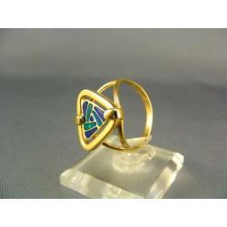 Zlatý prsteň s farebným skličkom žlté zlato VP57326Z