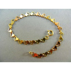 Zlatý náramok v tvare srdiečok DN18250
