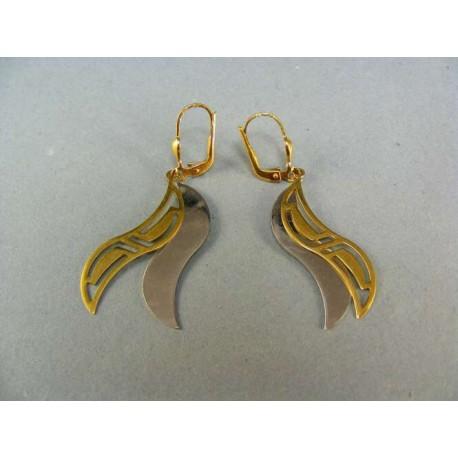 Zlaté náušnice elegantné dvojfarebné