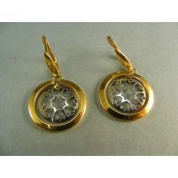 Zlaté náušnice kruhy visiace dvojfarebné zlato VA588V