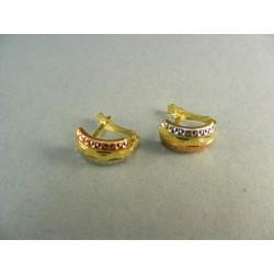 Zlaté náušnice trojfarebné zlato VA145V
