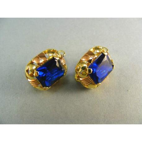 Zlaté náušnice s modrým kameňom