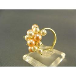 Zlatý prsten s perlou v dvoch odtieňoch žlté zlato VP54577Z