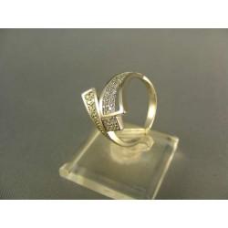 Zlatý prsteň dámsky moderný tvar biele zlato VP54376B