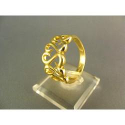 Zlatý prsteň s hačikmi žlté zlato DP63547Z