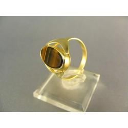 Zlatý prsteň s hnedým duhovaným kameňom žlté zlato DP57386Z