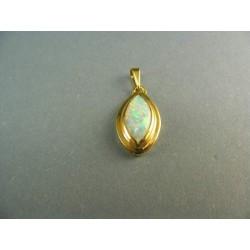 Zlatý prívesok kameňom opál v žltom zlate DI184Z