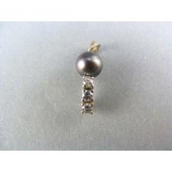 Zlatý prívesok biele zlato s perlou a zirkonmi VI170B