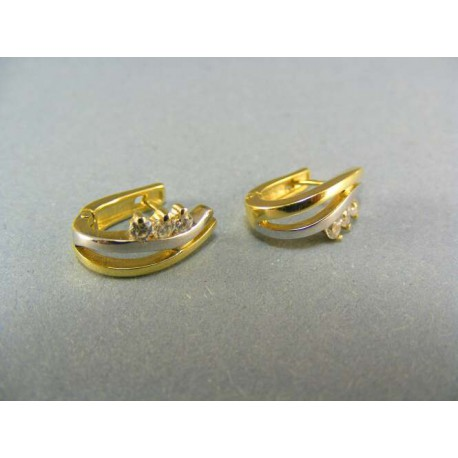 Zlaté náušnice zirkón viacfarebné zlato