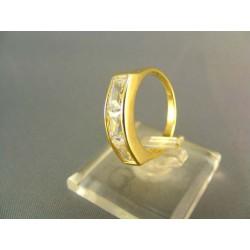 Zlatý prsteň s dlhým zirkónom žlté zlato VP53329Z