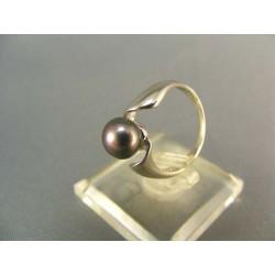 Zlatý prsteň biele zlato s perlou VP51271B