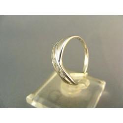 Zlatý prsteň s bielym zirkónom biele zlato VP54191B