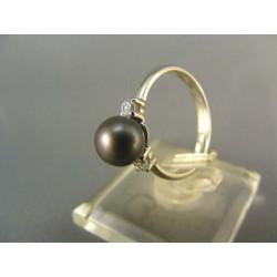 Zlatý prsteň z bieleho zlata s perlou kultivovanou DP54241B