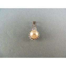 Zlatý prívesok s perlou v bielom zlate VA169B