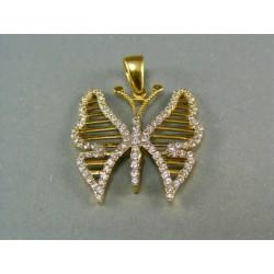 Zlatý prívesok tvar motýľ s kamienkami DI430Z