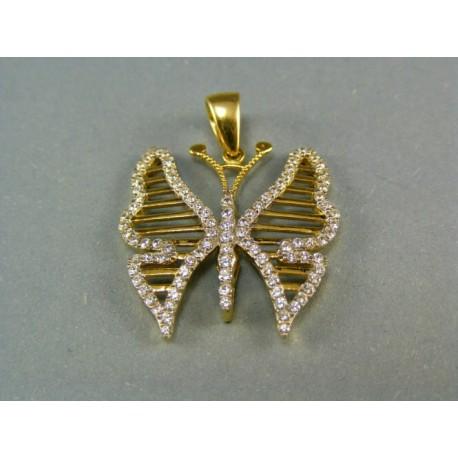 .Zlatý prívesok motýľ