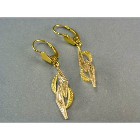 Zlaté náušnice visiace dvojfarebné zlato