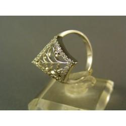 Zlatý dámsky prsteň s kamienkami biele zlato VP57382B