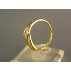 Zlatý prsteň dámsky so zirkónom jemný žlté zlato VP53207Z