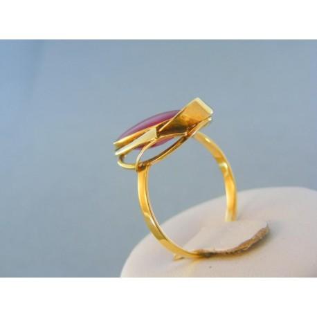 Zlatý prsteň s farebným zirkónom žlté zlato VP63386Z