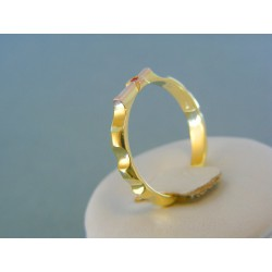 Zlatý prsteň ruženec žlté červené zlato kameň rubín DP54345V