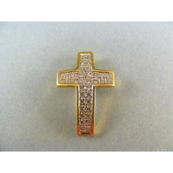 Zlatý prívesok krížik žlté zlato s kamienkami VI342K