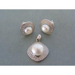 Strieborná súprava náušnice prívesok perla kamienky VSS543 925/1000 5.43g