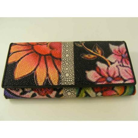 Dámska kožená peňaženka vzorovaná D16-01Nero