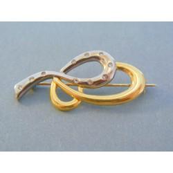 Zlatá dámska brošňa žlté biele zlato kamienky VB518V 14 karátov 585/1000 5.18g