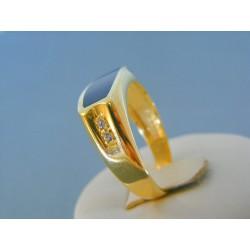 Zlatý pánsky prsteň žlté zlato kameň onyx so zirkónikmi DP63584Z 14 karátov 585/1000 5.84g