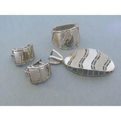 Strieborná dámska súprava vzorovaná náušnice prívesok prsteň DSS541308 925/1000 13.08g
