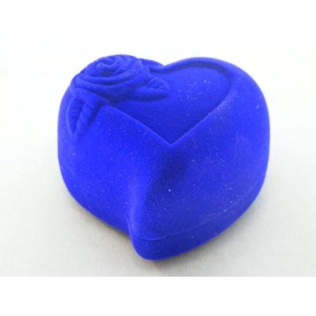 Krabička zamatová tvar srdca červená, modrá F79