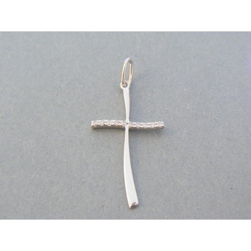 1cf1c620d Zlatý prívesok krížik biele zlato kamienky VDIK102B 14 karátov 585/1000  1.02g. Loading zoom