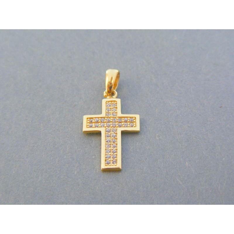 9ae308378 Zlatý prívesok krížik žlté zlato kamienky VIK095Z 14 karátov 585/1000  0.95g. Loading zoom