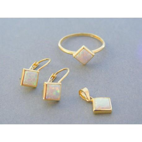 Zlatá dámska súprava náušnice prívesok prsteň opál žlté zlato DS54322Z 14 karátov 585/1000 3.22g