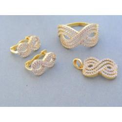 Zlatá dámska súprava náušnice prívesok prsteň žlté zlato kamienky VS58824Z 14 karátov 585/1000 8.24g