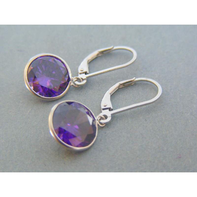 be618e094 Strieborné visiace dámske náušnice fialový kameň VAS349 925/1000 3.49g.  Loading zoom