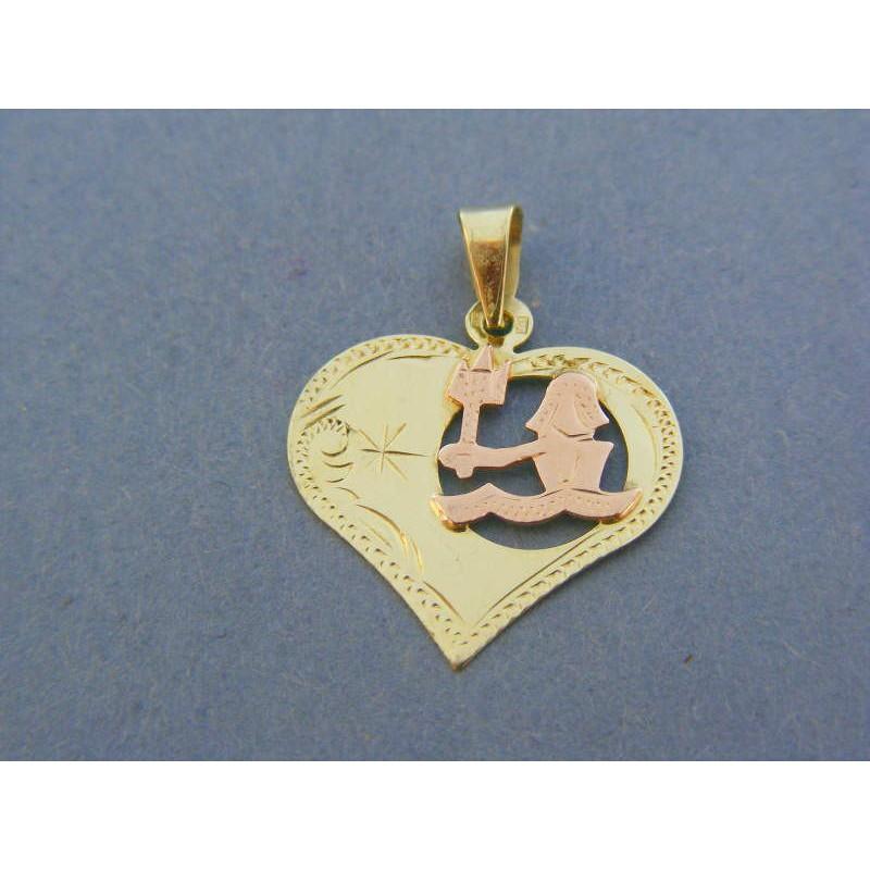 8a97dba72 Zlatý prívesok srdiečko znamenie vodnár žlté červené zlato VI106V 14  karátov 585/1000 1.06g. Loading zoom