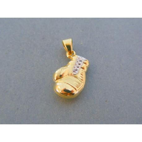 Zlatý prívesok boxerská rukavica žlté biele zlato VDI076V 14 karátov 585/1000 0.76g