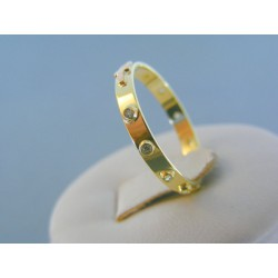 Zlatý prsteň ruženec žlté červené zlato kamienky DP55188V 14 karátov 585/1000 1.88g