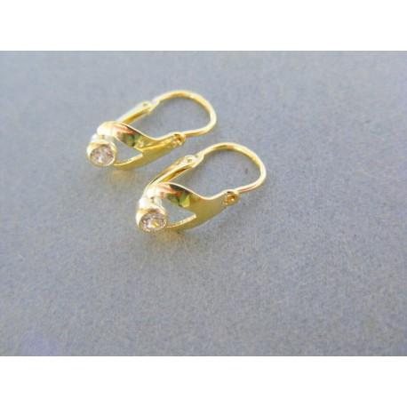 159da8da4 Zlaté detské náušnice žlté zlato kamienok fialový, ružový modrý, bielý,  tmavo ružový VDA110Z 14 karátov 585/1000